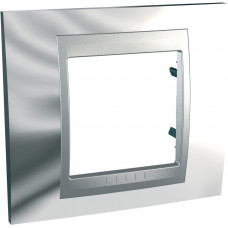 Рамка 1-постова, Блискучій хром / Алюміній, Unica Top MGU66.002.010