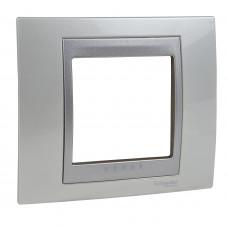Рамка 1-постовая, Белоснежный / Алюминий, Unica Top MGU66.002.092