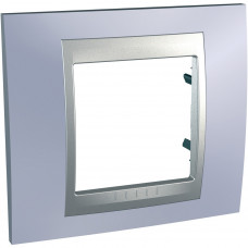 Рамка 1-постовая, Голубой берилл / Алюминий, Unica Top MGU66.002.098