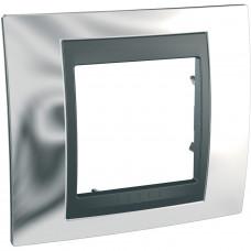 Рамка 1-постовая, Блестящий хром / Графит, Unica Top MGU66.002.210