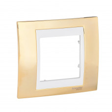 Рамка 1-постовая, Золото / Слоновая кость, Unica Top MGU66.002.504