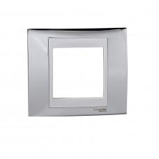 Рамка 1-постова, Блискучій хром / Білий, Unica Top MGU66.002.810