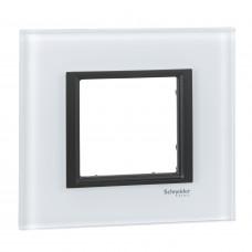 Рамка 1-постовая, Белое стекло, Unica Class MGU68.002.7C2
