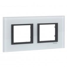 Рамка 2-постовая, Белое стекло, Unica Class MGU68.004.7C2