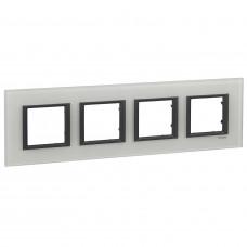 Рамка 4-постовая, Белое стекло, Unica Class MGU68.008.7C2