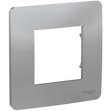 Рамка 1-постовая, Алюминий, Schneider Unica NEW Studio NU200230
