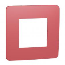 Рамка 1-постовая, Красный/белый, Schneider Unica NEW Studio NU280213