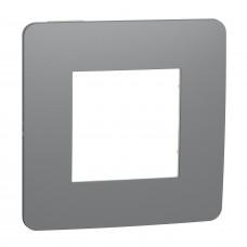 Рамка 1-постовая, Дымчато-серый/белый, Schneider Unica NEW Studio NU280221