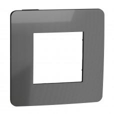 Рамка 1-постовая, Никель/антрацит, Schneider Unica NEW Studio NU280253
