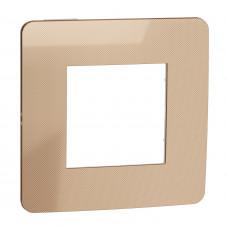 Рамка 1-постовая, Медь/белый, Schneider Unica NEW Studio NU280257