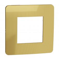 Рамка 1-постовая, Золото/белый, Schneider Unica NEW Studio NU280259