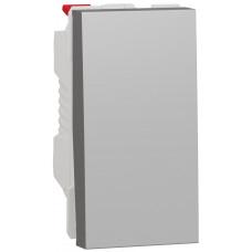 Выключатель 1-клавишный, 10А 1 модуль, алюминий, Unica NEW NU310130