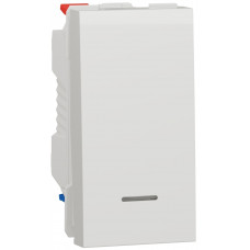 Перемикач 1-клавішний прохідний з підсвіткою, 10А, 1 модуль, білий, Unica NEW NU310318S