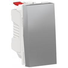 Выключатель кнопочный, 10А, 1 модуль, алюминий, Unica NEW NU310630