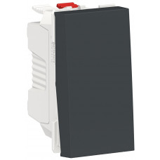 Выключатель кнопочный, 10А, 1 модуль, антрацит, Unica NEW NU310654