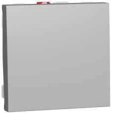 Выключатель 1-клавишный, 10А 2 модуля, алюминий, Unica NEW NU320130