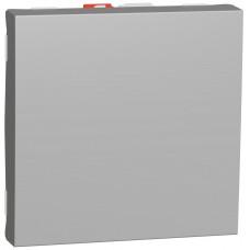 Переключатель 1-клавишный проходной, 10А, 2 модуля, алюминий, Unica NEW NU320330