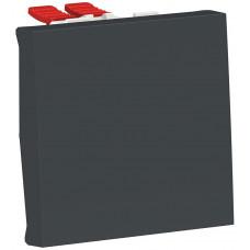 Переключатель 1-клавишный крестовидный, 10А, 2 модуля, антрацит, Unica NEW NU320554