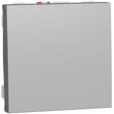 Выключатель кнопочный, 10А, 2 модуля, алюминий, Unica NEW NU320630