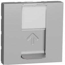 Розетка компьютерная RJ45, одинарная, кат.5e UTP, 2 модуля, алюминий, Unica NEW NU341130