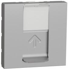 Розетка компьютерная RJ45, одинарная, кат.5e STP, 2 модуля, алюминий, Unica NEW NU341330