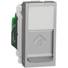 Розетка компьютерная RJ45, одинарная, кат.6 UTP, 1 модуль, алюминий, Unica NEW NU341430
