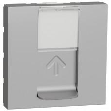 Розетка компьютерная RJ45, одинарная, кат.6 UTP, 2 модуля, алюминий, Unica NEW NU341530
