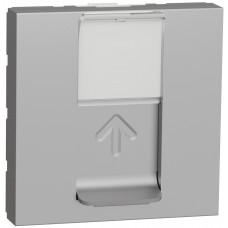 Розетка компьютерная RJ45, одинарная, кат.6 STP, 2 модуля, алюминий, Unica NEW NU341730