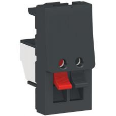 Аудиорозетка, 1 модуль, антрацит, Unica NEW NU348754