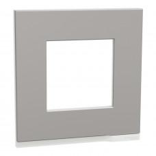 Рамка 1-постовая, горизонтальная, Алюминий матовый/белый, Schneider Unica NEW Pure NU600280