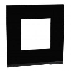 Рамка 1-постовая, горизонтальная, Каучук/антрацит, Schneider Unica NEW Pure NU600282
