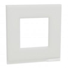 Рамка 1-постовая, горизонтальная, Белое стекло/белый, Schneider Unica NEW Pure NU600285