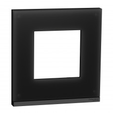 Рамка 1-постовая, горизонтальная, Черное стекло/антрацит, Schneider Unica NEW Pure NU600286