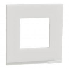 Рамка 1-постовая, горизонтальная, Матовое стекло/белый, Schneider Unica NEW Pure NU600289