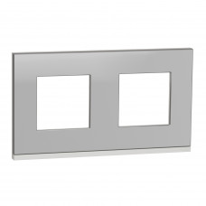 Рамка 2-постовая, горизонтальная, Алюминий матовый/белый, Schneider Unica NEW Pure NU600480