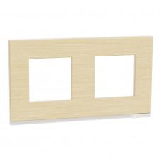 Рамка 2-постовая, горизонтальная, Клен/белый, Schneider Unica NEW Pure NU600483