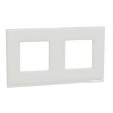 Рамка 2-постовая, горизонтальная, Белое стекло/белый, Schneider Unica NEW Pure NU600485