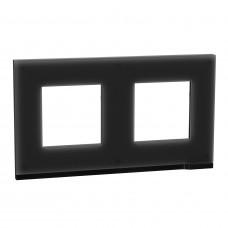 Рамка 2-постовая, горизонтальная, Черное стекло/антрацит, Schneider Unica NEW Pure NU600486