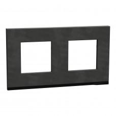 Рамка 2-постовая, горизонтальная, Камень/антрацит, Schneider Unica NEW Pure NU600487
