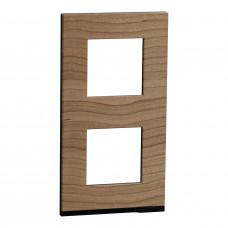 2 постовая рамка, вертикальная, Дуб, Schneider Unica NEW Pure NU6004V84