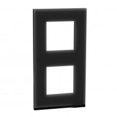 2 постовая рамка, вертикальная, Черное стекло, Schneider Unica NEW Pure NU6004V86